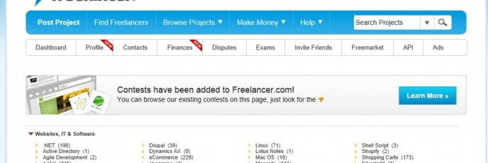 opening page of www.freelancer.com