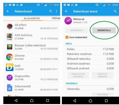 Android rakenduste eemaldamine